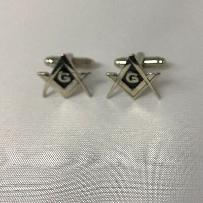 Freemason Masonic Square and Compass Cufflinks in Silver Tone with Black.