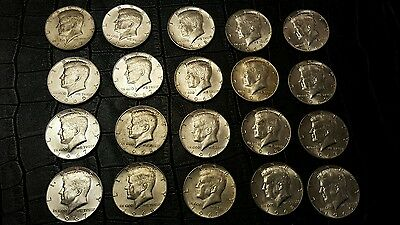 LOT OF 20 KENNEDY HALF DOLLARS 40% SILVER  HALF DOLLARS LOT ROLL OF 20 #1 cjc