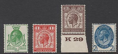 Set of 4 GB KGV Ninth UPU Congress King George V 1929 Mint Stamps