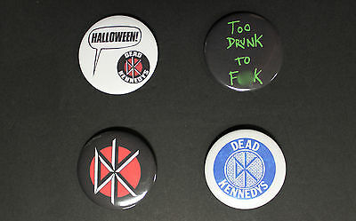 """Rare Set Of (4) Large «Dead Kennedys» Pin Back Buttons 2¼"""""""