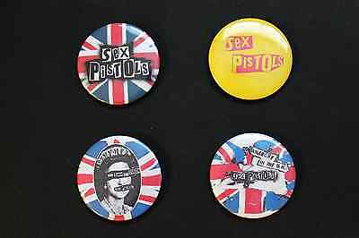 """Rare Set Of (4) Large «Sex Pistols» Pin Back Buttons 2¼"""""""
