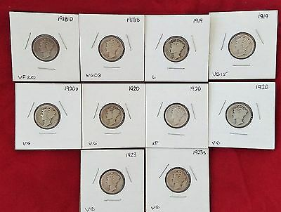 1918-1923 US Mercury Silver Dime Collection (10 Coins)-G VG VF XF Condition