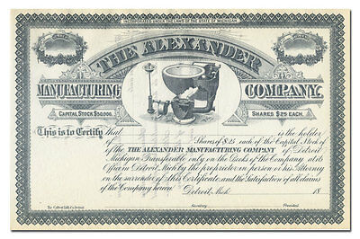 Alexander Manufacturing Company Stock Certificate (Old Toilet Vignette)