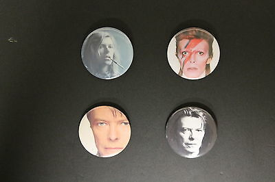 Rare Set Of (4) Large «David Bowie» Pin Back Buttons 2¼""