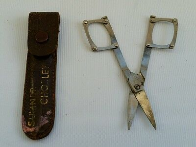 Vintage Cowlishaw Sheffield Deco Leather Cased Folding Pair Of Sewing Scissors