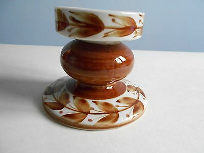 Jersey Pottery Squat Candlestick, Cream And Caramel