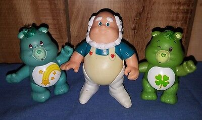 LOT Vintage 1980's CARE BEARS Poseable FIGURES Cloudkeeper GOOD LUCK Wish BEAR