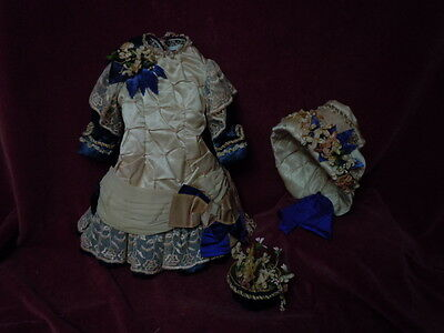 Gorgeous Silk Couturier Costume Dress Hat Basket for french bebe Jumeau Steiner