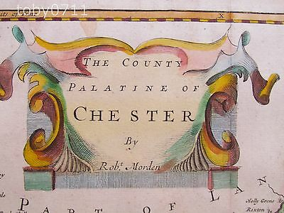 Robert Morden The County Palatine Of Chester 1694 Hand Coloured Original Map