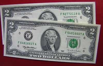 Uncirculated 1995 Series F $2 bill two dollar bank note Federal Reserve USA gift