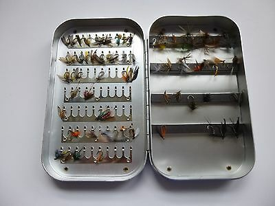 Fishing fly tin with 70 trout flies