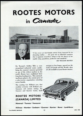 Vintage 1958 Rootes Motors ad 1st Canadian Plant Toronto's Golden Mile