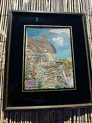 """Antique Framed , Hand Embroidered Thached Roof """"english ?"""" Cottage And Garden"""