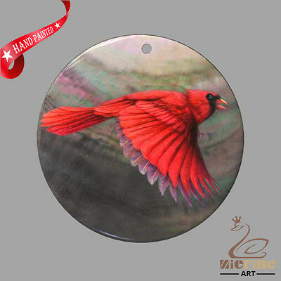Fashion Necklace Hand Painted Red Bird Shell Pendant Zp30 01067