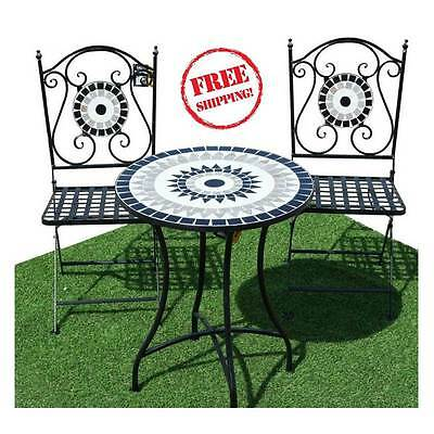 Metal Garden Bistro Set Table Foldable Woven Chairs Sets Mosaic Outdoor Patio