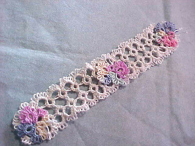 4 Tatted Bookmark Cream 3 Pastel Butterflies Lace Book Gift Dove Country Tatting