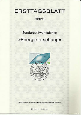 Stamp 1981Germany Special Post Energy Research Information Sheet / Brochure