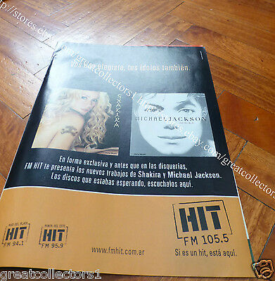 MICHAEL JACKSON SHAKIRA 1 AD ADVERTISING PAGE CLIPPING IN SPANISH fromArgentina