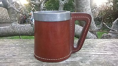 Used - Leather Clad Metal Tankard - Stainless Steel - 12.3cm High - 99p Start