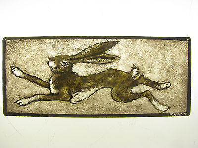 Stained glass, hand painted, kiln fired, fragment. Running Hare 152 x 64 mm