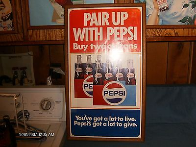 "PEPSI COLA: 1970""s Oak Framed Sign ""Pair Up With Pepsi"""