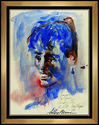 LeRoy NEIMAN Original Watercolor Painting Rocky Stallone Boxing Signed Artwork