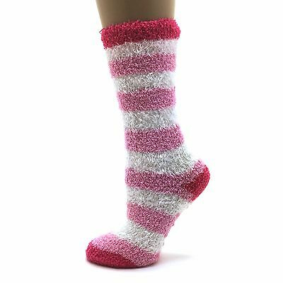Girl's Snuggly Fuzzy Cozies Stripe Socks, 1 Pair (S/M or M/L) Pink/White