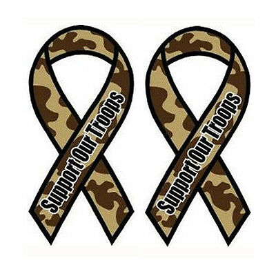 """Magnetic Camo color ribbon /""""Support Our Troops/"""" 8/"""" x 3.25/"""""""