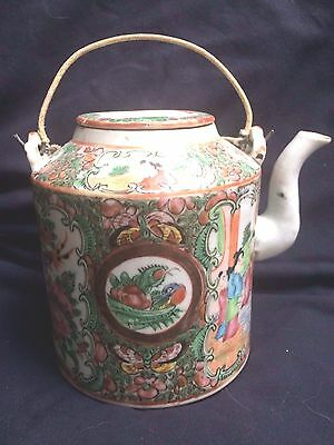 Beautiful Antique Chinese Rose Medallion Teapot