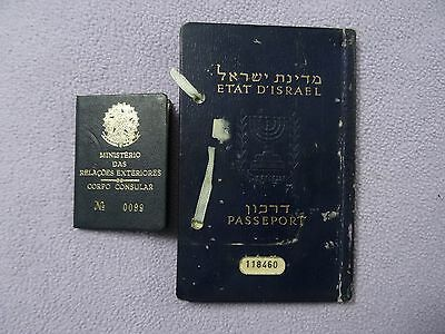 Israel Old Passport Cancelled - Not Valid 1957 Visas Rio Consular Wife Stamps