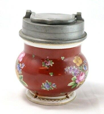 RARE Antique (circa 1880s) Red Tobacco Jar with Metal Lid, Hand-Painted Floral*