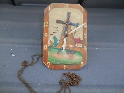 Small Dutch Novalty  Wall Clock With Windmill