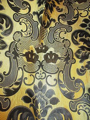 Vintage Gold And Black Stiff Damask Fabric 4 Yards