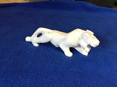 White Grey Marble Jaguar Panther Tiger Cat Figurine Statue