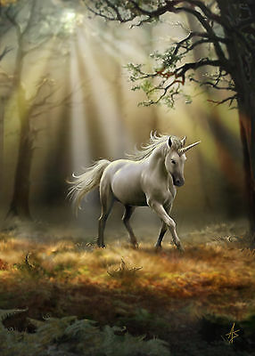 Glimpse Of A Unicorn Greeting Card - Anne Stokes