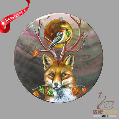 Creative Necklace Hand Painted Fox Shell Pendant Zp30 01112