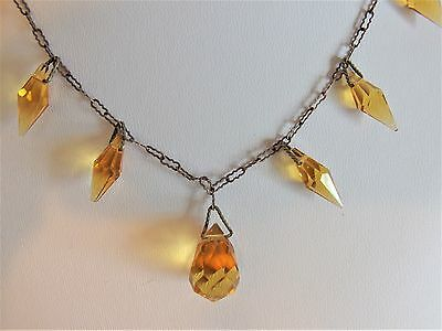 Lovely Vintage 1930's Art Deco Amber Faceted Glass Necklace