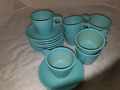 16 Pc. - Vintage Boonton Melamine, Melmac Turquoise Coffee Cups And Saucers