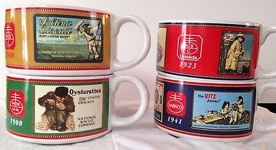 Advertising Soup Mugs Cups Bowls Nabisco Ritz Uneeda Crackers Biscuit Colorful