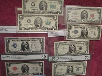 1928B ,1957 Star $1 Silver Certificates & 1928 $2 Legal Tender Some PMG Graded