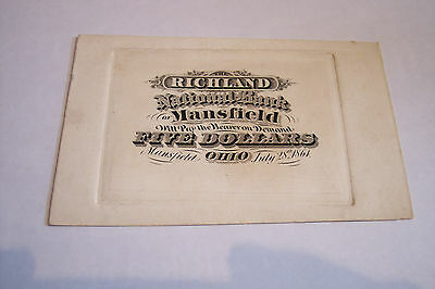 1864 Mansfield Oh National Bank Title Proof The Richland Ch #480 Five Dollars