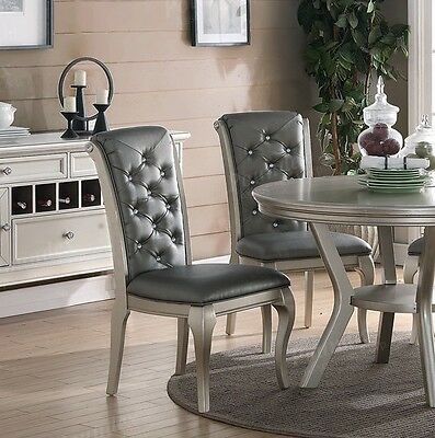 Charming Antique Silver Formal Dining Chair (set of 2)