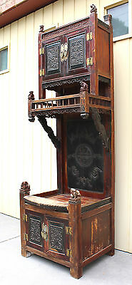 Amazing Antique Hardwood Cabinet w/ Carved Doors & Foo Dogs, China, 19th Century