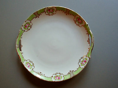 """Antique 9"""" 3/4 Hand Painted NIPPON Cake Plate 2 handles Green border/ Roses/Gilt"""