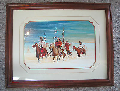 HUNTING PARTY Native American Signed Acrylic Painting by Gale Running WOLF