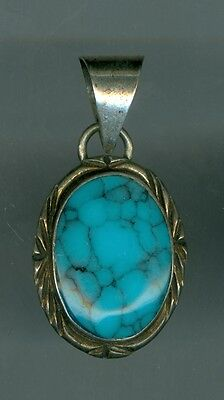 Attractive Turquoise Silver Pendant, Made in Mexico