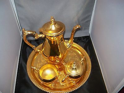 Vintage 4 pc  International Silver Co. 24 Kt Gold Electroplated Coffee/Tea Set