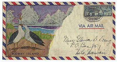 Fancy Midway Island Colorful Cachet To Honolulu Hawaii  May 1941