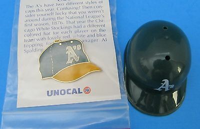 Oakland As Baseball Cap Shaped Pin and Mini 2 Inch Helmet