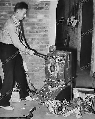 """Destroying Slot Machines With Sledge Hammer   8"""" - 10"""" B&W Photo Reprint"""